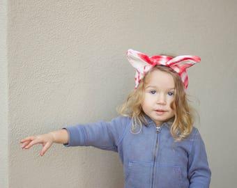 Organic red and white striped Fox Ears Headband, hand dyed, bunny, vegan kids