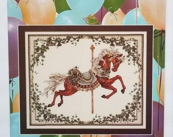 Counted cross stitch pattern | Teresa Wentzler | Fall Carousel Horse | Fantasy cross stitch pattern