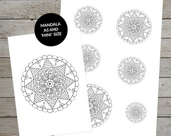 Printable Mandala (No.4) - Hand Drawn Design - Ideal For Bullet Journaling - A5 and Mini Sizes - Mandala Stickers - Planner Stickers