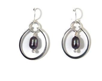 Black Pearl Earrings Tahitian Pearls Sterling Silver Jewelry Black Pearl Dangle Earrings