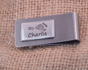 Money Clip - Personalized Foot/ Hand / Fingerprint Engraving