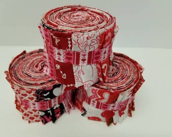 Valentines Red Quilt Fabric Strips - Quilt Strips Jelly Roll - SEW FUN QUILTS