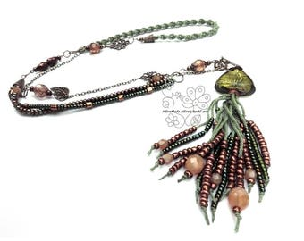 Green tassel texile and beads art necklace Lagenlook bohemian fringes boho style