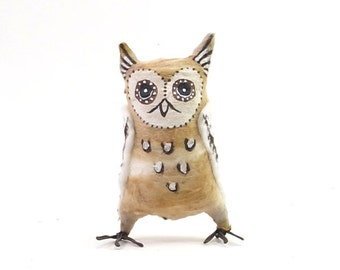 Vintage Inspired Spun Cotton Owl Ornament/Figure (MADE TO ORDER)