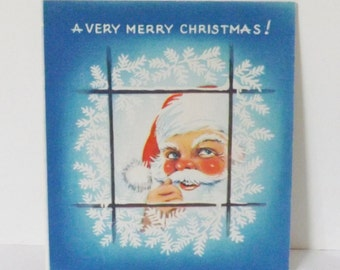 Vintage 1940s 1940's 1950s 1950's Christmas card Santa Claus peeking out of a window