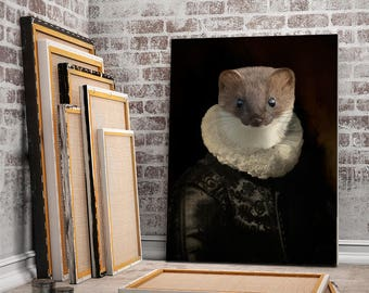 JEFF - portrait of a Weasel in flemish renaissance costume,  animal portrait in costume, gift idea, customizable with your pet's photo