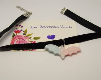 Gift Idea Necklace Neck collar style Gothic Kawaii fabric black velvet bat pink Blue Glitter-bat Necklace Gothic Lolita