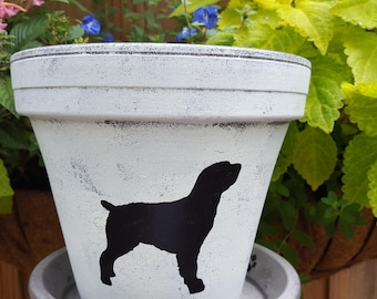 Painted Flower Pot - Brittany Dog Gift - Brittany Breed - Dog Lover Gift - Pet Memorial Gift