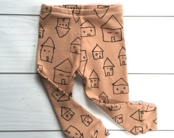 SALE!!!! Modern pink beige house leggings, super soft rib cotton knit,   House leggings,  new sizes available for 0-24 months!