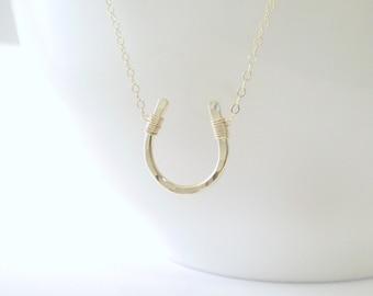 Luck Necklace - Hammered Horseshoe Necklace - 14k Gold Filled, Sterling Silver, or Rose Gold Filled