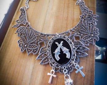 Silver bib necklace lace steampunk revolver ♠Western Diligence♠