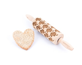 Elephant - Junior rolling pin for cookies, embossing roller.