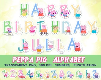 Peppa Pig Alphabet, clipart, Peppa pig birthday banner, birthday decorations, digital alphabet, party printables, printable abc, scrapbook