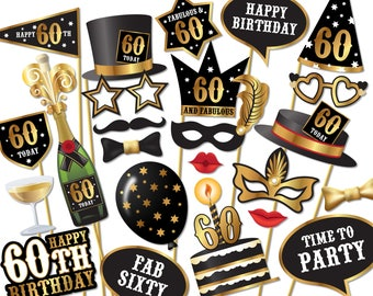 60th birthday Photo Booth props - Instant Download printable PDF. Sixtieth birthday party Photo Booth supplies. Sixty Today - 0156