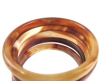 XL Brown Agate Rings, 6 pcs