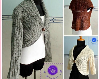 Sleeved circle vest pdf crochet pattern ( size 2XS - 2XL )