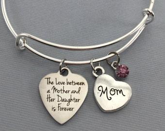 Mother Bracelet - Mother Gift - Bangle Bracelet - Gift for Mom - Mother Daughter Jewelry - Mother Charm Bracelet - Mothers Day