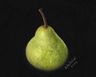 Packham pear - print from my original pastel painting.