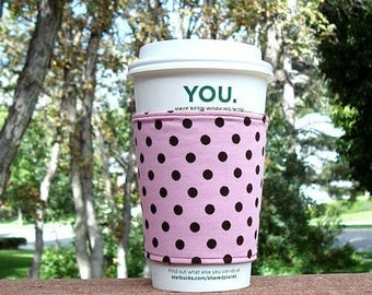 FREE SHIPPING UPGRADE with minimum -  Fabric coffee cozy / cup sleeve / coffee sleeve  -- Pink withChocolate Brown dots