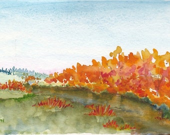 Autumn Original Watercolor Painting OOAK
