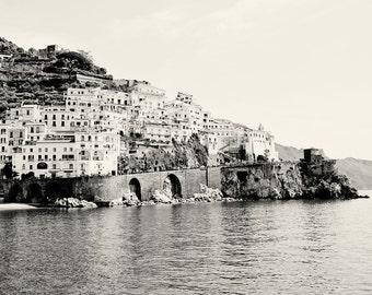 Amalfi Photography - Black and White Italy Photography - Amalfi Coast Pictures - Seaside Mediterranean Decor Print Italian Wall Art Water
