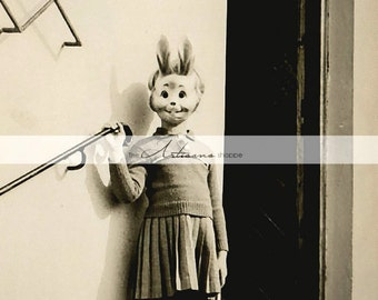 Instant Art Printable Download - Girl Wearing Bunny Mask Vintage Photograph - Paper Crafts Scrapbook Altered Art - White Rabbit Girl