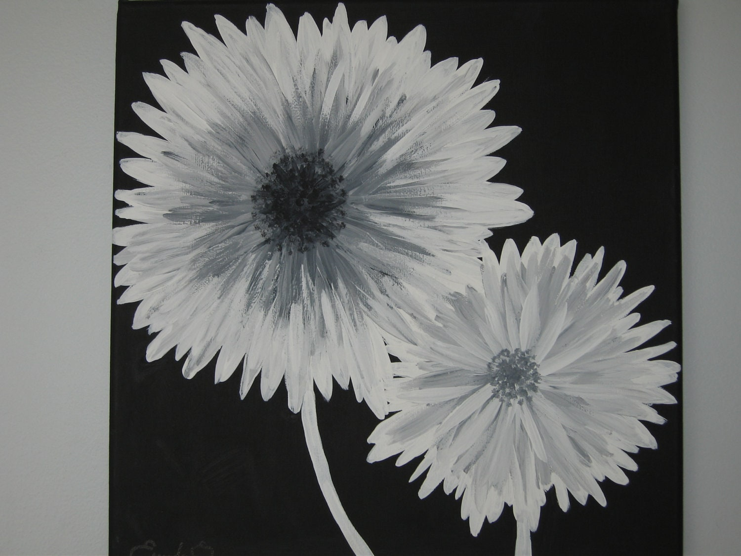 Modern Black White And Gray Daisy Flowers Acrylic Painting