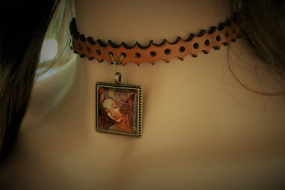 leather choker collar, necklace, with art pendant, Leda, Da Vinci, renaissance,  medieval, fantasy