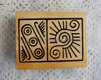 Primitive Eyelash Sun Scroll Design Wood Mounted Rubber Stamp Retired Stamp