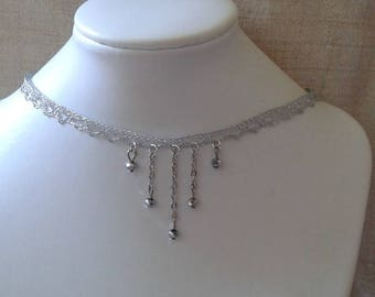 """Ribbon silver lace and pearls"" Choker necklace"