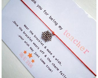 Christmas Wishing Bracelet 'Thank You For Being My Teacher' Gift
