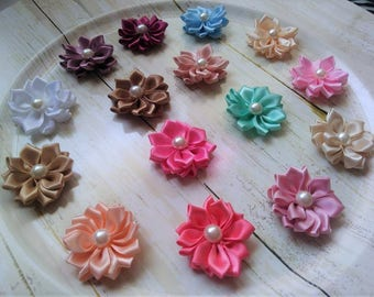 "Satin pearl flowers Mini 1.5"", You Choose Quantity- Diy Headband Supplies- Flower- Wholesale- Supply Shop"