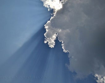 Nature Photography - Sunbeams - 8x12 - nature sky sunrays clouds blue white ethereal home decor