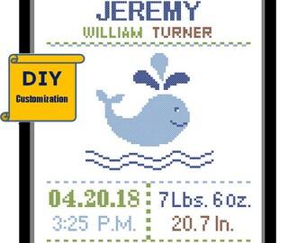 Whale Cross Stitch Birth Announcement Cross Stitch Birth Record Cross Stitch Baby Boy Whale Nautical birth sampler DIY customizable Pattern