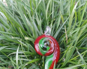 Spiral green and red glass pendant