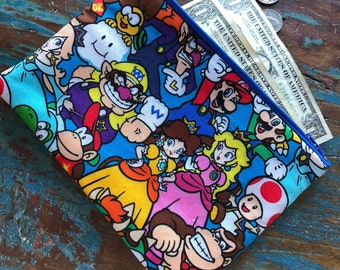 medium zipper pouch Mario world