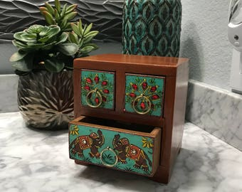 Miniature Dresser Drawer Jewelry Box, Hand Painted Bejeweled Wood Accessory Storage Container, Three Drawers, Item #593766039