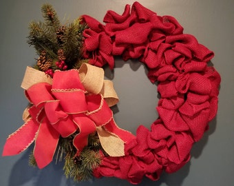 Christmas Red Burlap Wreath