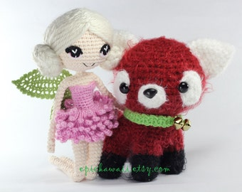 PATTERN 2-PACK: Chrysanna the Albino Fairy and Jasmine the Red Panda Cub Crochet Amigurumi Dolls