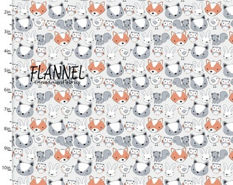 Woodland Animal Flannel Fabric, Animal Quilt Flannel, 3 Wishes Playful Cuties 12967 Gray, Woodland Baby Flannel, Fox, Bunny, Owl, Cotton