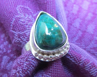 High Dome Chrysocolla Teardrop in Granulated Argentium Ring Size 8 & a Quarter