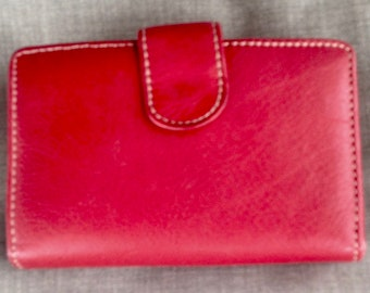 Vintage Red unbranded Leather small wallet with kiss lock coin purse