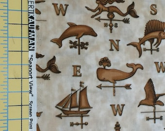 SALE Seaport View by Dan Morris for Robert Kaufman Cotton Fabric, Sailfish, Dilphin, Whale, lighthouse, Mermaid, Weathervane Fabric, 1 yard
