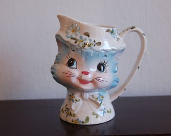 Lefton Charming Miss Priss Kitty Cat Milk Pitcher Jug w/ Original Red Label, MCM Lefton #1504 Anthropomorphic Miss Priss Kitty Cat Pitcher