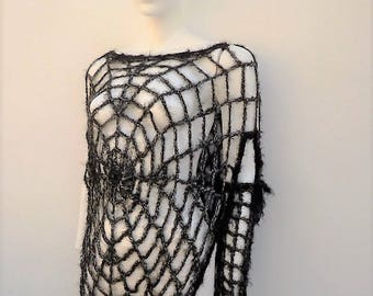"""Gothic Women""""s Black Spiderweb Poncho Cape with Long Gloves Girls Adult Goth Clothing Gothic Poncho Charlotte""""s Web Costume"""
