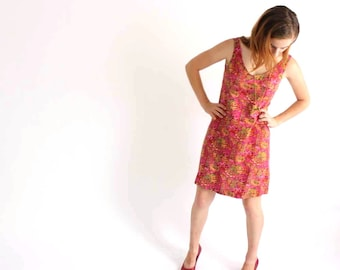 floral sundress . flower tapestry dress . open back dress . womens small dress . above the knee dress