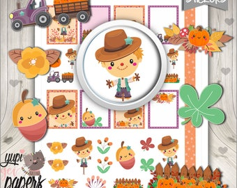 Scarecrow Stickers, Planner Stickers, Printable Planner Stickers, Pumpkin Stickers, Scarecrow Planner Stickers, Planner Accessories