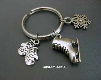 Ice Skating Keychain / Ice Skate Key Ring / Figure Skating Keychain / Mittens Keychain / Ice Skater Keychain / Snowflake Keychain /