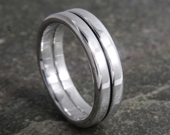 Mens silver ring, wedding band ring, stripe, manly ring, double band fully Hallmarked