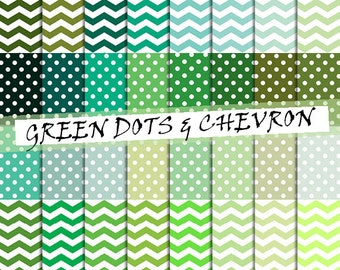 Green dotted and chevron digital paper: white polka dots on green backgrounds, chevron green and white patterns ; for commercial use